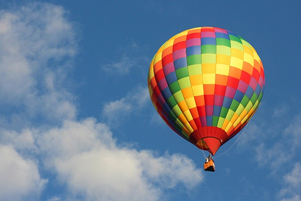 Rainbow-colored Hot air balloon